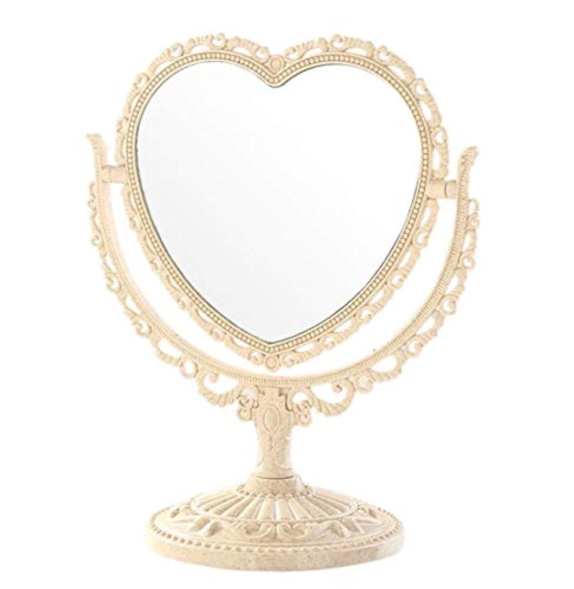 準拠ファブリック強制的[クイーンビー] 卓上 ミラー ハート 型 かわいい お洒落 メイク アップ コスメ 美容 化粧 鏡 スタンド 360度 回転 女の子 お姫様 便利 デスク プレゼント (ベージュ)