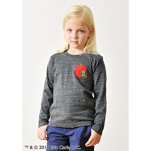 ( グラニフ ) graniph コラボレーション キッズ 長袖 Tシャツ / レッドアップルエンブロイダリー ( エリックカール ) ( ヘザーブラック ) 130