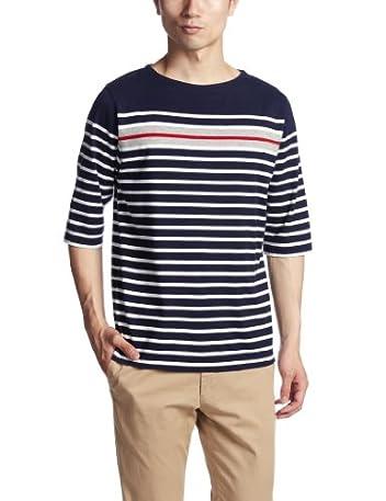 6/10 Sleeve Panel Stripe Boatneck Shirt 3217-113-3270: Navy