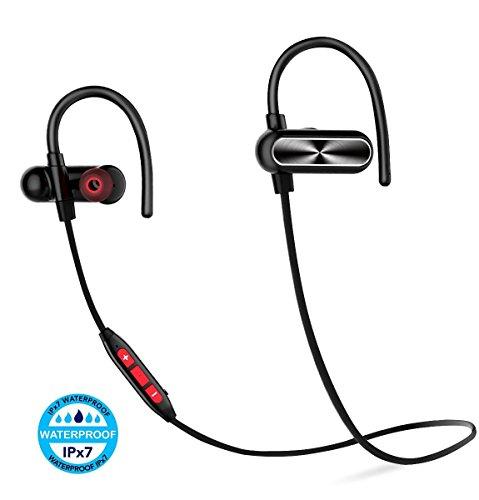 Bluetooth イヤホン APT-X/AAC対応 12時間連続通話 スポーツイヤホン IPX7防水規格 ノイズキャンセリング ランニング用 ワイヤレスイヤホン【技適認証済】(赤/黒)