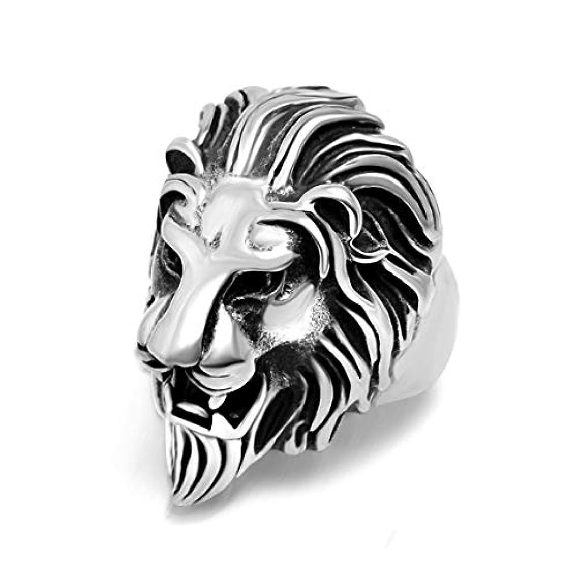 覚醒ペリスコープ富豪横暴なライオンヘッドリングメンズトレンドリングチタンスチールリングクリエイティブリング-スチールカラー