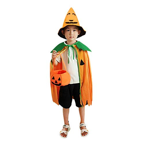 Greenery Halloween Pumpkin Costume Set for Toddler Kids Child Orange Cosplay Suit Hat School Party Children Clothing Clothes (for Kids, 3 Pcs (Coat+Cap+Basket))