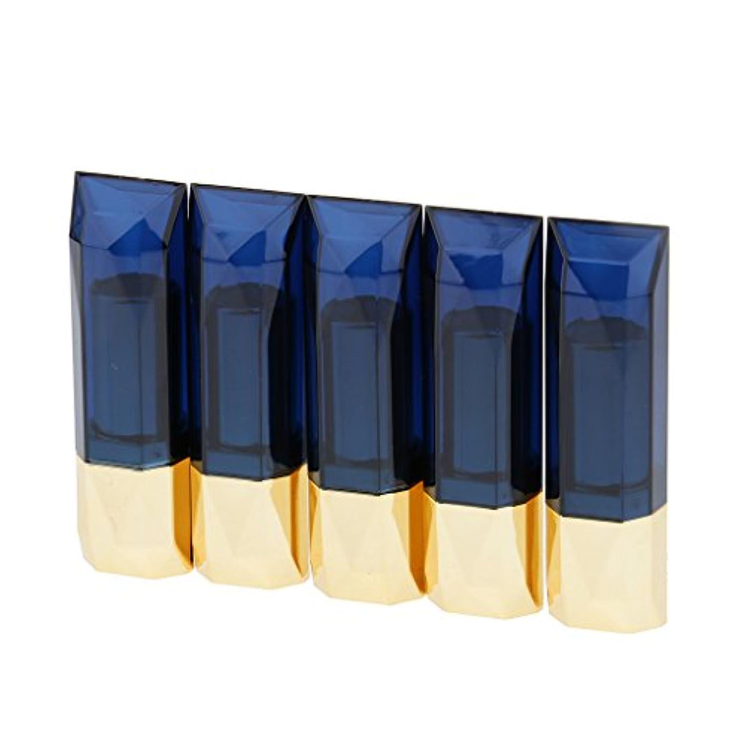 早くピンチ即席Kesoto 5本入り 空のリップバームチューブ 12ml リップスティック コンテナ DIY リップバーム チューブ リップグロス ボトル 3タイプ選べ - 青