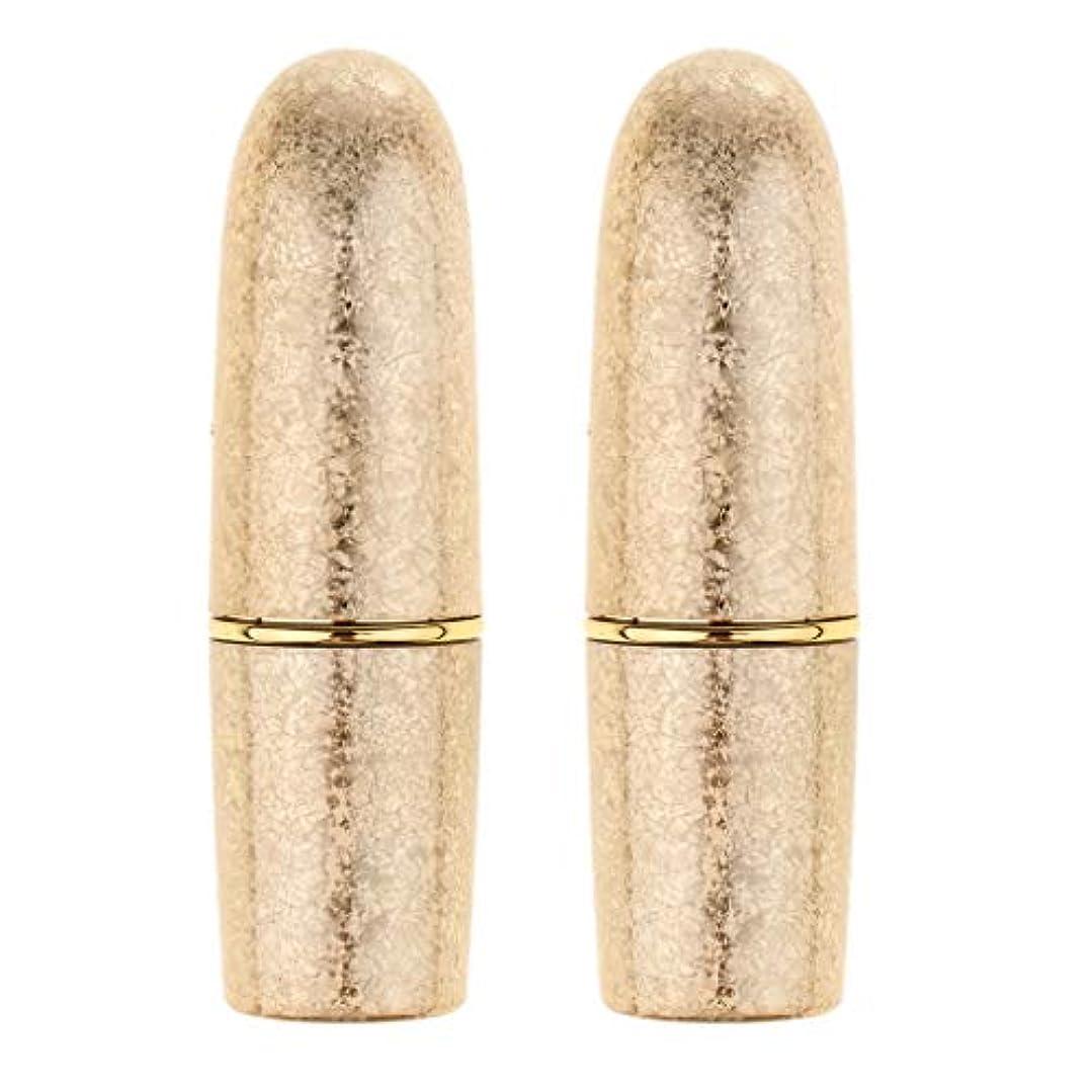 目に見える火炎でもperfk 2本 リップスティック 口紅 DIY 空チューブ 手作り メイクアップ 5色選べ  - ゴールド