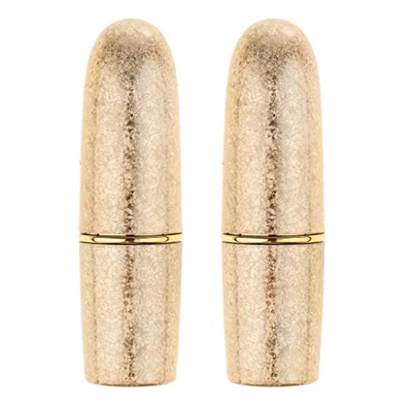 尊厳スパーク味付けperfk 2本 リップスティック 口紅 DIY 空チューブ 手作り メイクアップ 5色選べ  - ゴールド