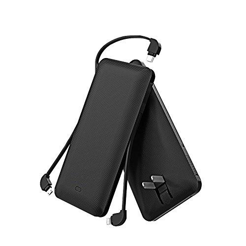 モバイルバッテリー 大容量 (10000mAh ケーブル内蔵 3USBポート 折り畳みプラグ搭載) 急速充電 軽量 薄型 iPhone、iPad、Android各種対応.