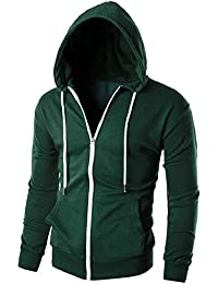 maweisong メンズフーディフルジッパー軽量フード付きスウェットシャツジャケット