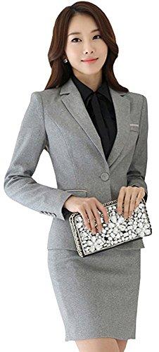 激情女郎)JIQINGNVLANG レディース セットスーツ OL オフィス 就活 ビジネス 通勤 リクルート 事務服 スカートスーツ グレー L