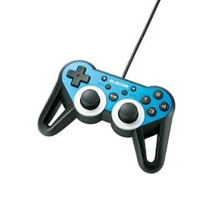 ELECOM ゲームパッド USB接続 12ボタンアナログスティック搭載 振動/連射 高耐久 【ファイナルファンタジーXIV: 新生エオルゼア推奨】 ブルー JC-U3312SBU