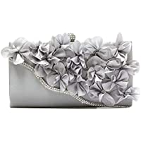 Womens Evening Bags Floral Clutch Purses Satin Evening Bag Handbag for Wedding Bridal Evening
