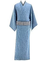 デニム着物 メンズ シャンブレー 木綿着物 単衣 綿100% No.15 ブルー 縞