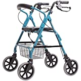 ALUA- Old Man Shopping Cart, Old Man Trolley Walker Aluminum Alloy Four-Wheel Foldable with Seat