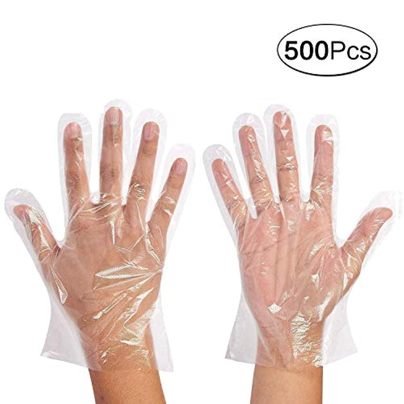 クリケットレッドデート服を着る使い捨て手袋 極薄ビニール手袋 ポリエチレン 透明 実用 衛生 500枚セット極薄手袋