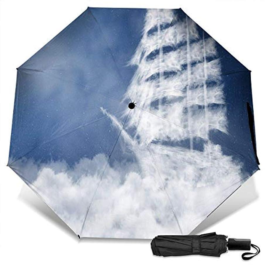 消化ドラマ教ふわふわの雲の形をした海のヨット折りたたみ傘 軽量 手動三つ折り傘 日傘 耐風撥水 晴雨兼用 遮光遮熱 紫外線対策 携帯用かさ 出張旅行通勤 女性と男性用 (黒ゴム)
