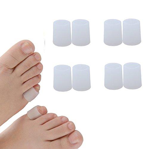足指保護キャップ つま先プロテクター 足先のつめ保護キャップ シリコン (ホワイト, 4組の小さなゲル)