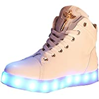Gaorui Women's Faux Rabbit Fur USB Led Light Fox Ankle Boot Lace Up High Top Sneaker