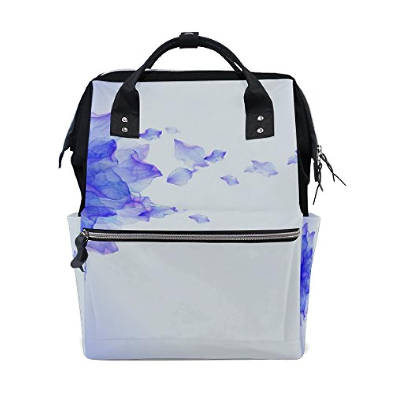 ママバッグ マザーズバッグ リュックサック ハンドバッグ 旅行用 墨絵 青い花 ファション