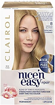 Clairol Nice'n Easy Repair Permanent Hair Colour, 8A Medium Ash Blonde, Pack