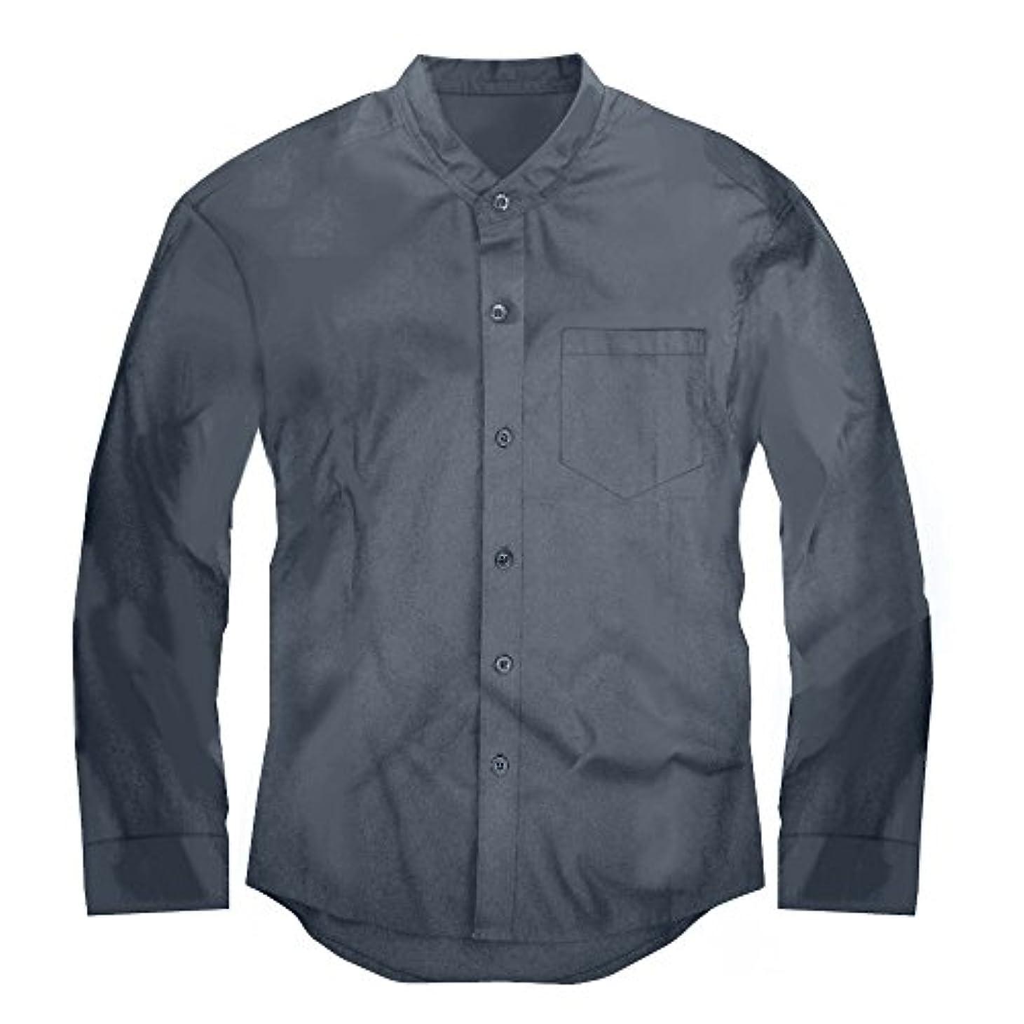申し込むトラック注目すべきスワンユニオン swanunion メンズ Yシャツ 襟なし バンドカラー 長袖 シャツ 無地 グレー 灰 f142-men