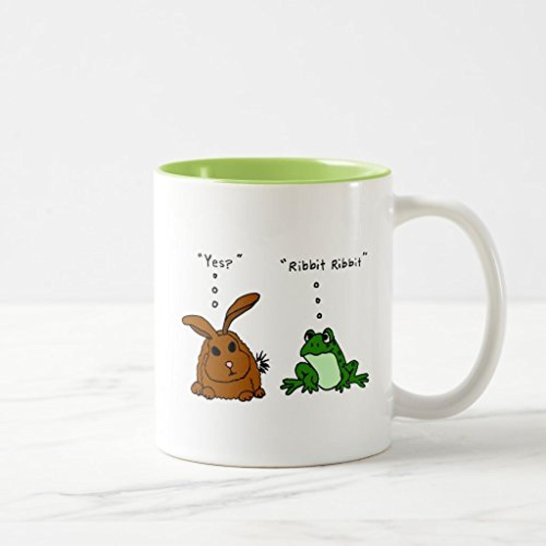 Zazzle yy- Funny Rabbit and Frog Cartoonコーヒーマグ 11 oz, Two-Tone Mug グリーン 6eb8579d-00c7-1c65-eeb0-b0f0bccc3b9f