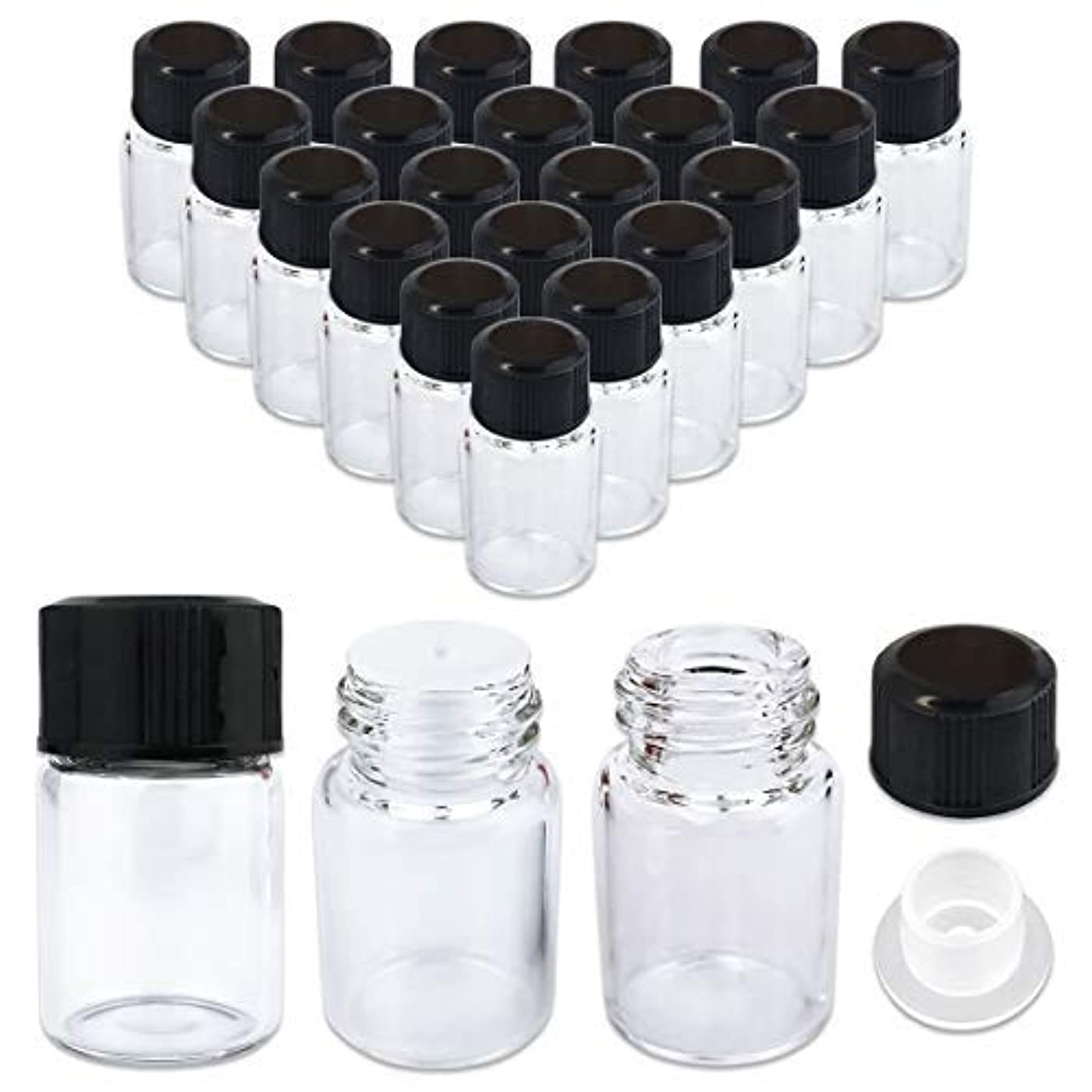 煙突蛾バンドル24 Packs Beauticom 2ML Clear Glass Vial for Essential Oils, Aromatherapy, Fragrance, Serums, Spritzes, with Orifice...