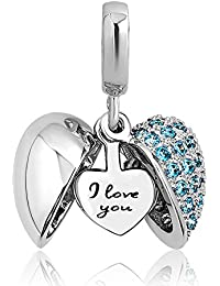 Casa De Novia Jewelry l Love You in My Heart Charms openable 6 Colors Cystal Dangle Beads for Bracelets