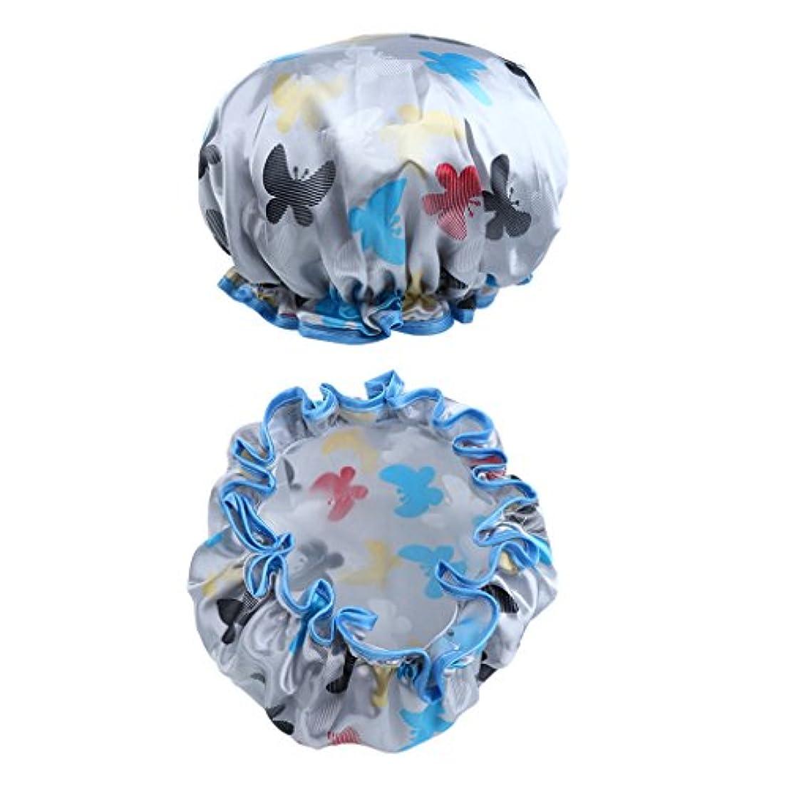 ストリップ歴史家後継dailymall シャワーキャップ ヘアキャップ ヘアーターバン 入浴キャップ 帽子 お風呂 シャワー用に 2個 7色 - マルチカラー