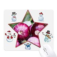 写真の新鮮な温帯vageableオニオン クリスマス・雪人家族ゴムのマウスパッド