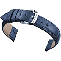 14mm Women's Dark Blue Genuine Replacement Leather Watch Band Alligator Grain 7.08inch Length