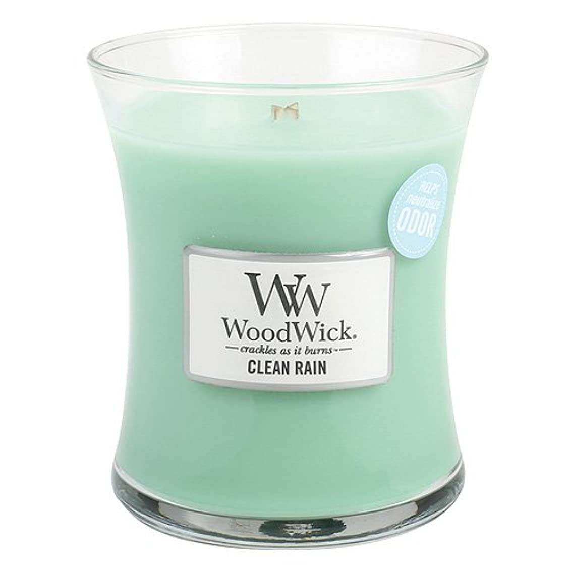 好色な融合レバークリーン雨WoodWick ODOR NEUTRALIZING 9.7オンス香りつきJar Candle