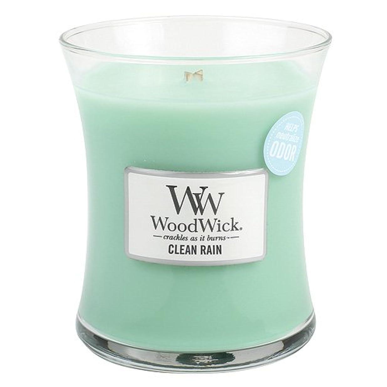 起訴する柱組み合わせクリーン雨WoodWick ODOR NEUTRALIZING 9.7オンス香りつきJar Candle