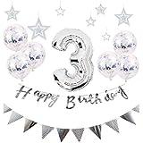 【Shiseikokusai 】 HAPPY BIRTHDAY お子様誕生日パーティー 豪華 誕生日 飾り付け セット シルバー(hw-ys03)