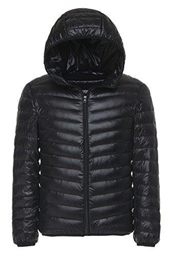 Faston ライト ダウン ジャケット メンズ 超軽量 フード付き 防寒 暖かい 秋 冬 ウルトラライト コート LM005 (M, ブラック)