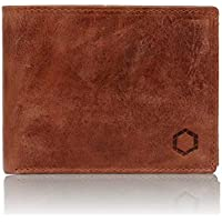 Men's Wallet, Genuine Brown Buffalo Leather, RFID Blocking Electronic Theft Protection, Trifold 13 Card Slots with Coin Purse One Black Stone