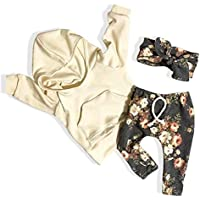 Cecobora Baby Girl Clothes Long Sleeve Hoodie Sweatshirt Floral Pants with Headband Outfit Sets