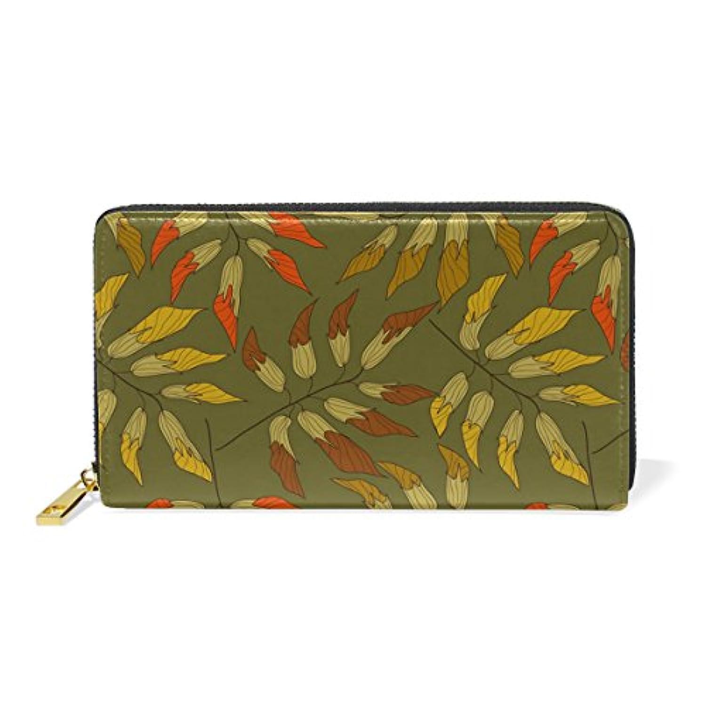 財布 レディース 長財布 大容量 かわいい 葉柄 可愛い かわいい 絵柄 漫画 幾何学模様 ファスナー財布 ウォレット 薄型 本革 型押し 小銭入れ プレゼント用