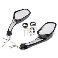 B Baosity 8mm 凸面鏡 リア ビューミラー内蔵 LEDターン シグナルライト 全3色 - ブラック