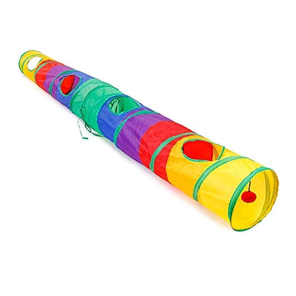 猫遊びトンネル、Alligado猫トンネルペットチューブ折りたたみ遊びおもちゃ屋内屋外レインボー2穴ポータブルウサギペット遊び