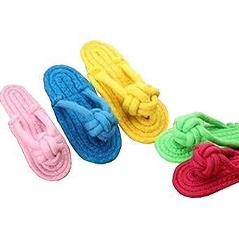AD1  いくら噛んでも大丈夫!丈夫なペット用おもちゃスリッパ2色セットスリッパ2セット 赤・青 RZブランド (レッド・ブルー)