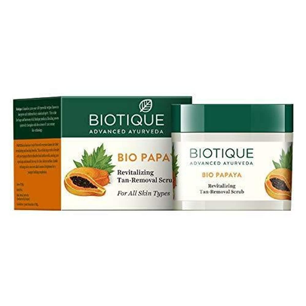 精度軌道区画Biotique Bio Papaya Revitalizing Tan Removal Scrub for All Skin Types 75g すべての肌タイプのための日焼け除去スクラブを活性化させるBiotique...