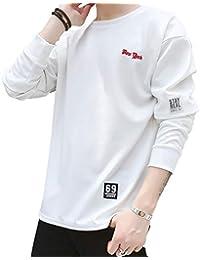 ONESMTM Tシャツ 長袖 メンズ 無地 カットソー ファッション カジュアル 柔らかい 快適 M~3XL (黒 白 灰)
