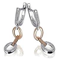 [女性向けイヤリング]Goldmaid Women's 925 Sterling Silver Earrings part Red Gold-Planted with white Zirconia[平行輸入品]