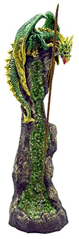 しばしば主権者ずんぐりしたファンタジーグリーンドラゴンon GeodeポリレジンIncense Burner – 10.5