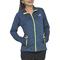 ryandrew Women's Fleece Full-Zip Pocketed Collared Long Sleeved Running & Track Jacket with Thumb Holes