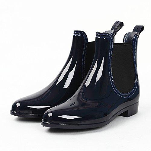 (Wansi) レディース ショート レイン ブーツ シューズ レインブーツ 雨靴 長靴 長ぐつ 梅雨対策 滑り止め レインシューズ レイングッズ ビジネス アウトドア おしゃれ 雨靴 ブルー 23.5cm