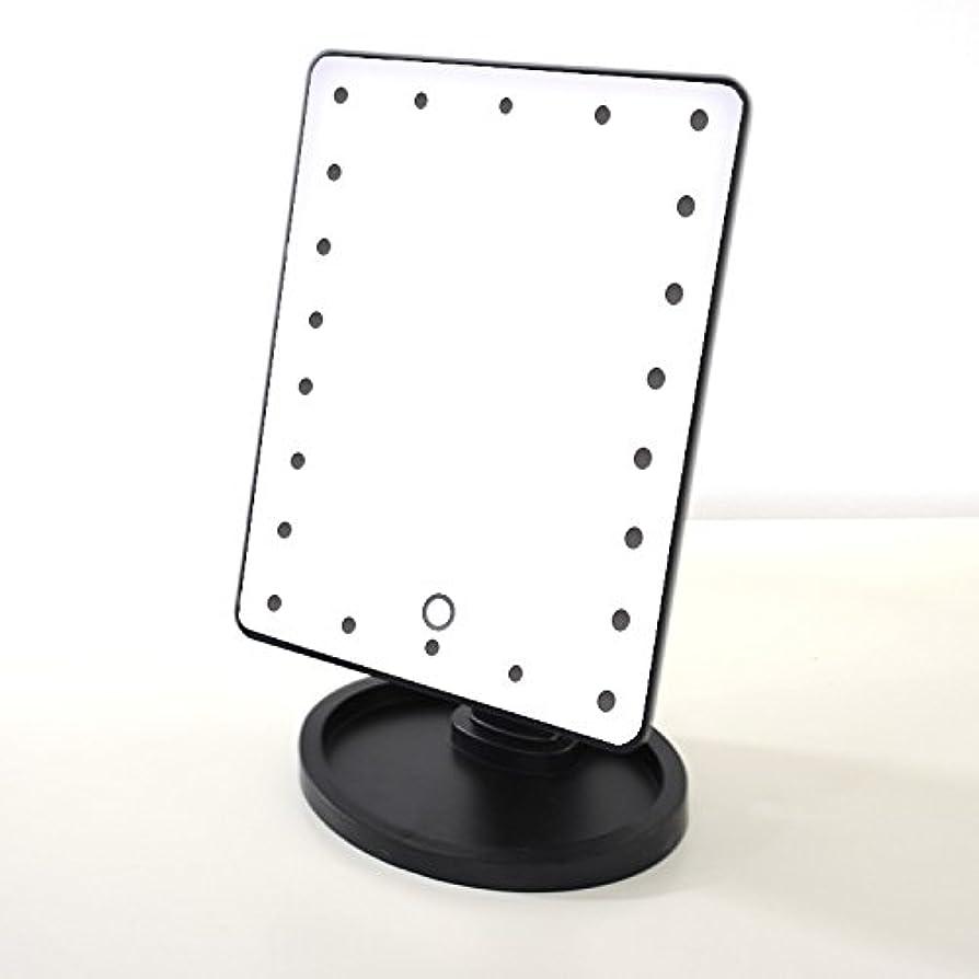 症状顕現顕現LED化粧鏡 ランプ付き スタンドミラー プリンセスミラー LEDライト付きミラー 化粧ミラー 黒 ブラック