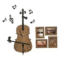 時計 個々のアールデコ時計木製のカフェウォールウォールクロックかわいい漫画のヴァイオリンのウォールクロック