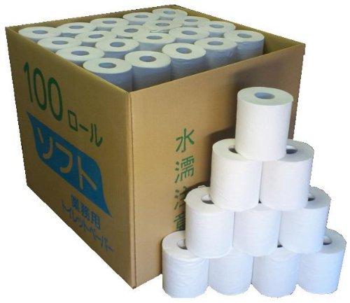 業務用 シングル トイレットペーパー 無包装 65m 100個入り