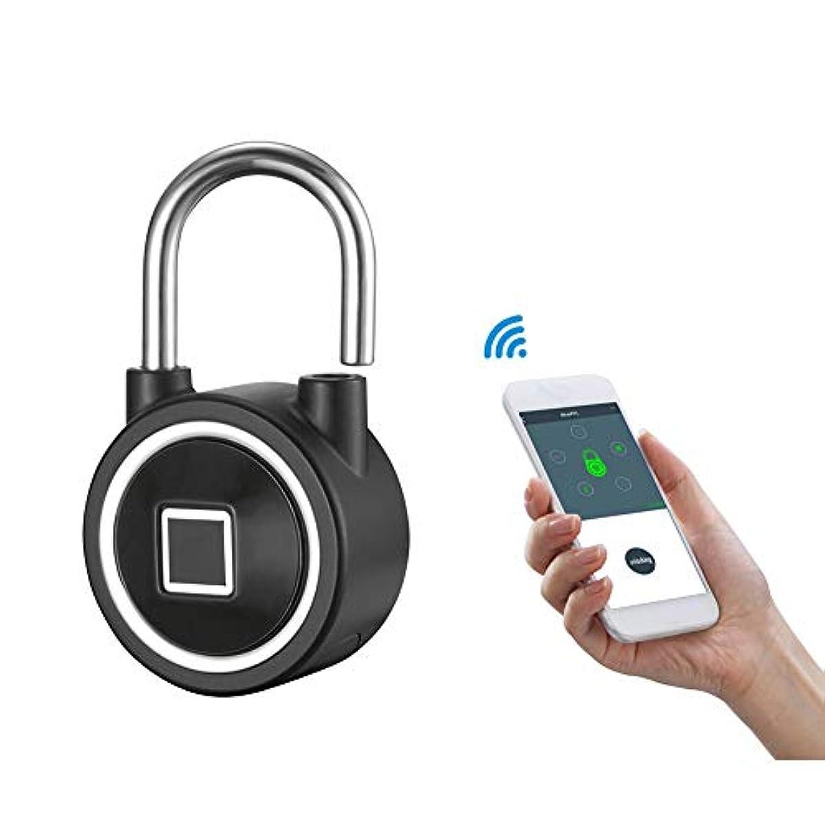 一瞬透過性抑止する小さい エレクトロニクス 南京錠 インテリジェントな Bluetooth APP 指紋(15個) 荷物のロック (キーレスロック解除)、 アウトドア 盗難防止用ロック,Black