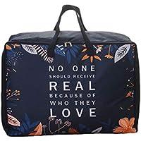 大型保管袋青いノルディックパターンポータブル折り畳み式オックスフォード布防水性水分補給高品質旅行オーガナイザー羽毛布団キルト衣類移動仕上げ荷物袋 (サイズ さいず : 57.5 * 27.5 * 42.5cm)